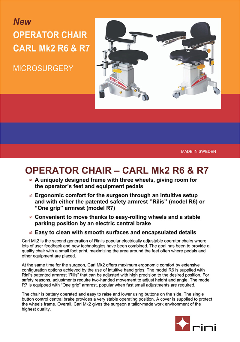 Rini Operator Chair - Carl Mk2 R6 (R6 & R7)